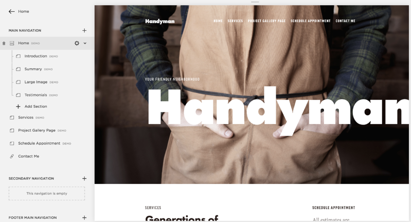 Squarespace pages